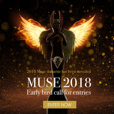 """The Muse Creative Awards return with a newly unified look to honor this year's top talent. In keeping with our theme, """"Rise Together,"""" this winged statuette soars, honoring the universal power of communications. Gleaming platinum, gold or rose gold finishes signify the level of achievement, and a crystal-studded crown on each statuette represents clarity of concept and purposeful vision. Winners may opt to order the custom-engraved statuettes as a lasting reminder of achievement and recognition"""