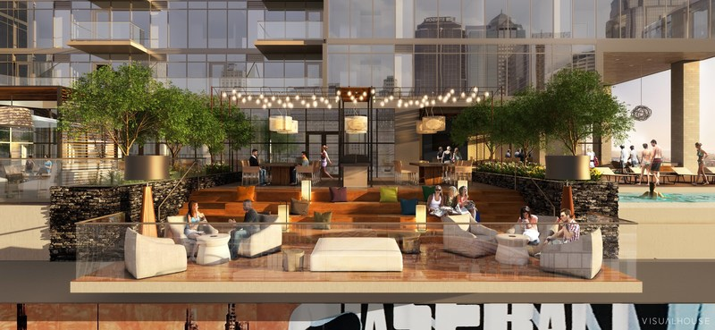 Two Light will feature an expansive outdoor amenity deck featuring an infinity edge pool at the building's northwest edge, grilling stations, cabanas, an outdoor bar and a belvedere relaxation and activity space that cantilevers over 14th street.