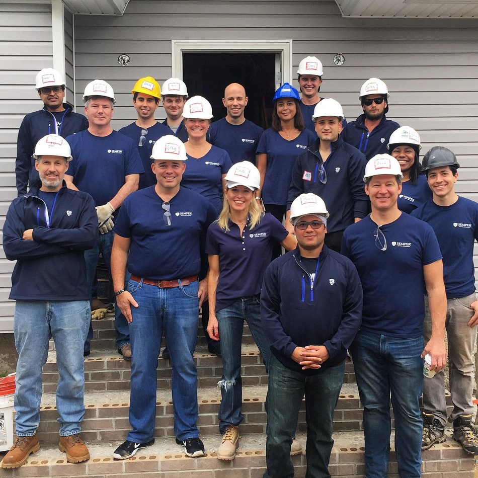 Team Semper at a Habitat for Humanity build site in Queens