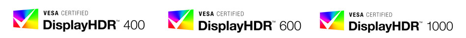 VESA Certified DisplayHDR brand logos representing three distinct levels of HDR system performance.