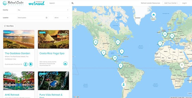 Interactive map: Retreat organizers can search for and compare centers; view center locations on an expandable/collapsible map; filter by category, price, and amenities; contact centers directly to make inquiries; then book directly with their chosen retreat center.