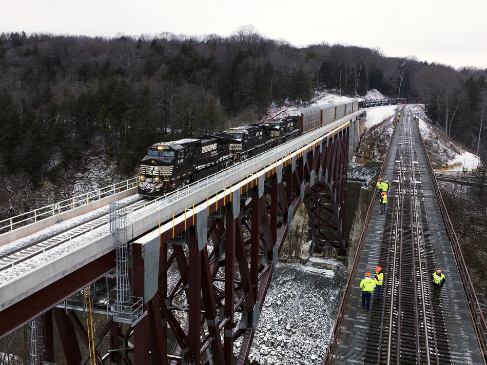 At 2:20 p.m. Monday, Norfolk Southern general merchandise train 36T became the first to cross the new Portageville Bridge.
