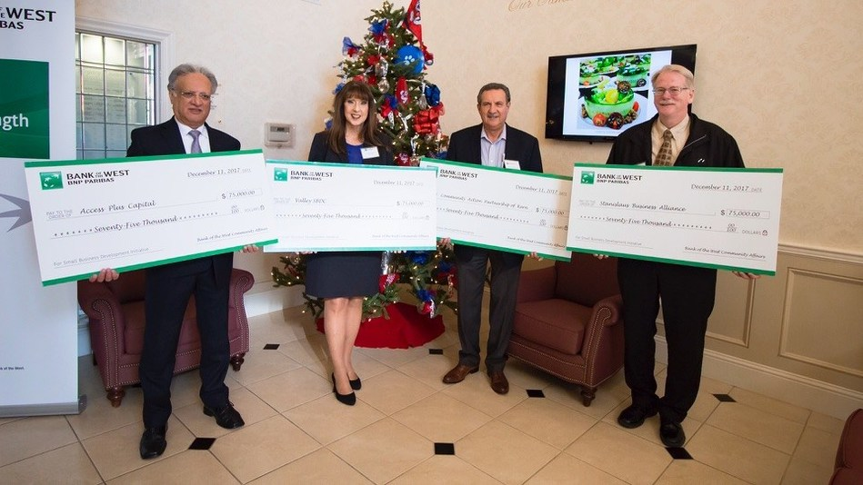 Bank of the West grant recipients (from left to right): Salam Nalia, CEO, Access Plus Capital; Debbie Raven, President and CEO, Valley SBDC; Ralph Martinez, Director of Community Development, Community Action Partnership of Kern; Kurtis Clark, Director, Director Valley Sierra SBDC