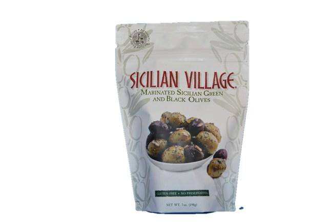 Sicilian Village Marinated Green & Black Olives - 12oz pack
