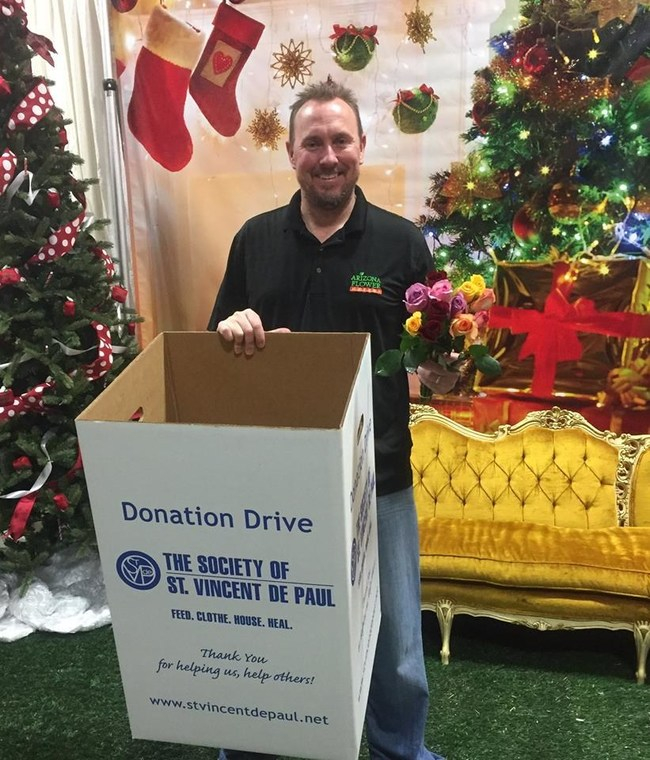 Arizona Flower Market holds its annual toy/food drive benefiting The Society of St. Vincent de Paul Phoenix