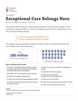 Exceptional Care Belongs Here - Fact Sheet (CNW Group/Mackenzie Health Foundation)