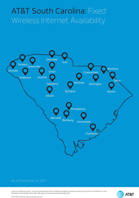South Carolina Fixed Wireless Internet Map, December 2017