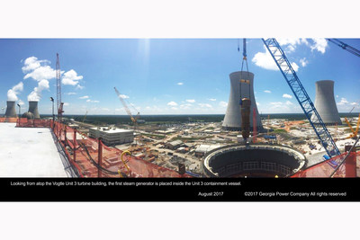 The first steam generator is placed for Vogtle Unit 3. The 1.4 million-pound steam generator marked the first major lift with Southern Nuclear in charge of oversight activities at the construction site.