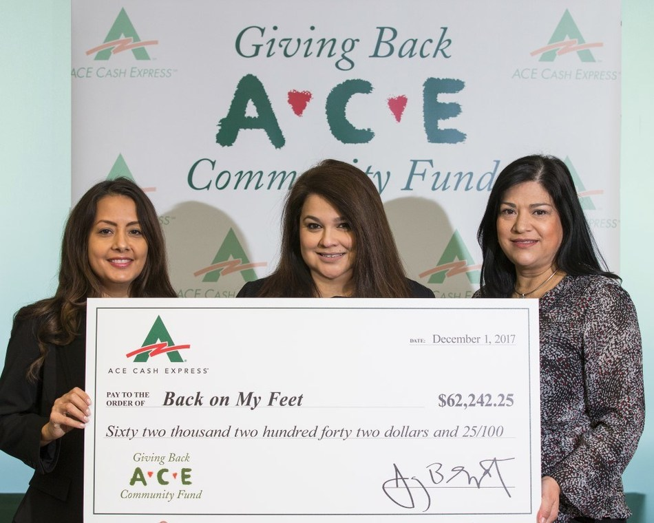 ACE presents donation to Back on My Feet Dallas-Fort Worth's Executive Director, Gina Parker