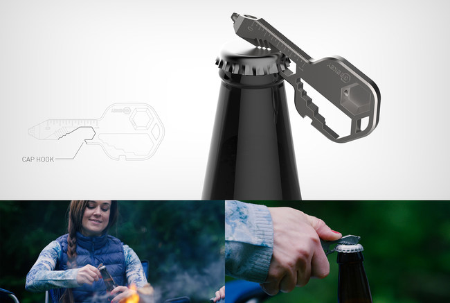 Geekey is also equipped with an opener that can open any stubborn cap in a pinch. It can also open standard metal paint cans in multiple sizes.