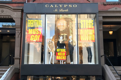 Calypso St. Barth store on Newbury St. in Boston is among 16 locations participating in going-out-of-business sale.