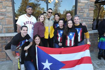 Michael Feliz, Daniella Rodriguez and Carlos Correa with Texas United for Puerto Rico members