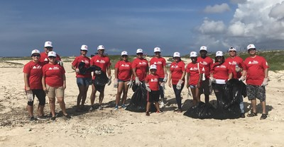 TeamCITGO volunteers filled 175 trash bags with trash at the annual Aruba Hotel and Tourism Association Beach Cleanup.