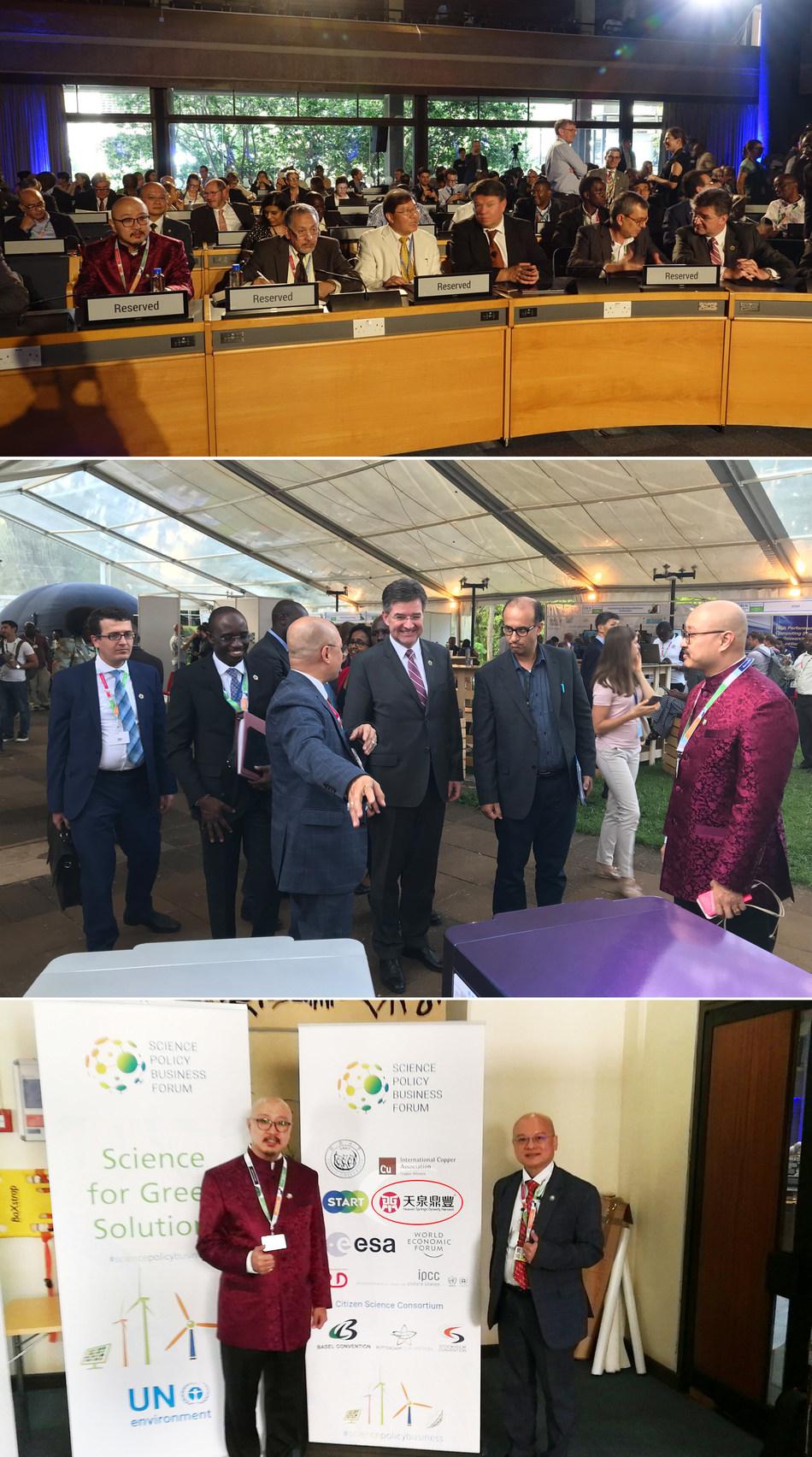Presidente da Assembleia Geral da ONU, Miroslav Lajcak; presidente da Assembleia Ambiental da ONU, Dr. Edgar Gutierrez; secretário-geral da Organização Meteorológica Mundial, Petteri Taalas; secretário do Painel Intergovernamental sobre a Mudança do Clima, Abdallah Mokssit; Dato' Sri Prof Ng Tat Yung