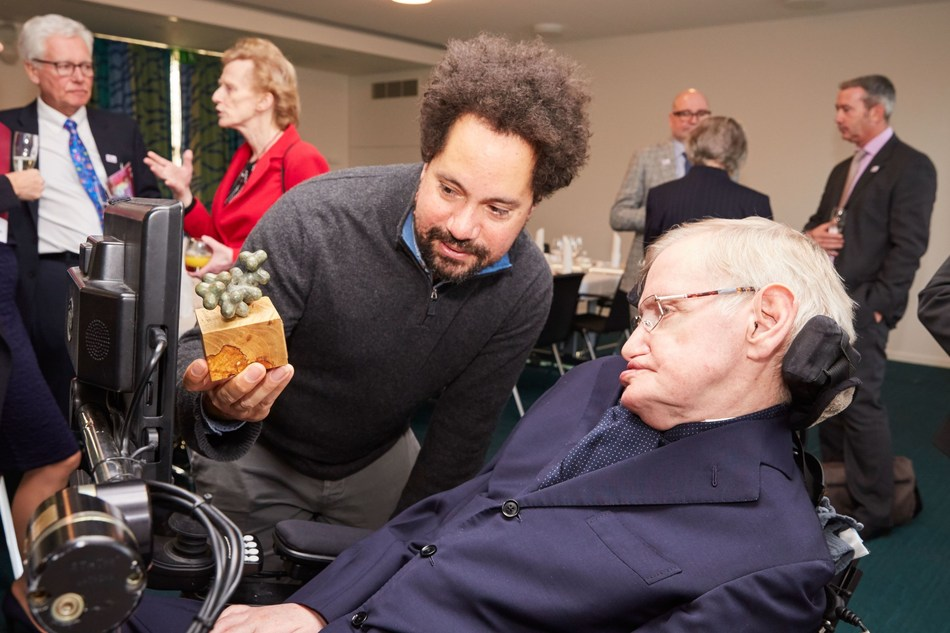 "Professor Hawking was presented with a sculpture of the genetic structure of ""Diethylcarbamazine,"" a drug used in the treatment of lymphatic filariasis. (PRNewsfoto/Sightsavers)"