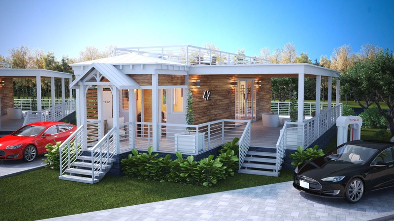 A rendering of the Hunters Point cottage homes exterior.