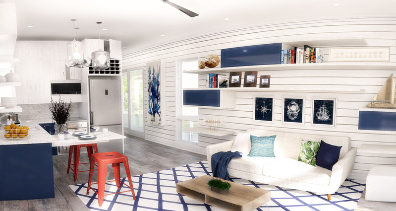 The Hunters Point nautical interior design concept, one of four concepts residents will choose from.