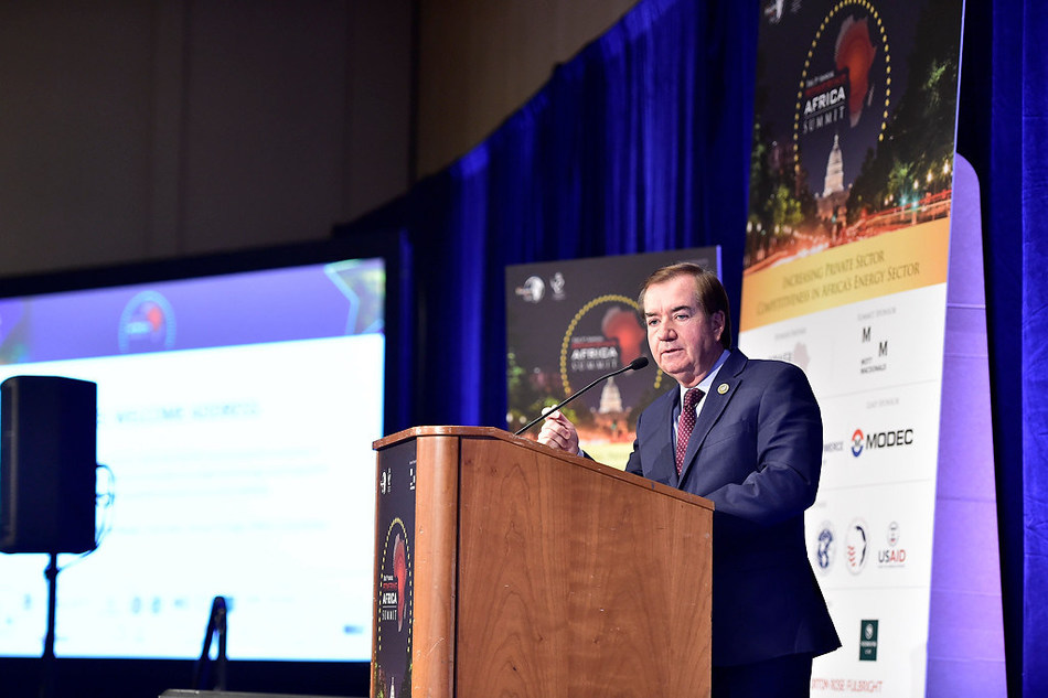 Ed Royce, Chairman: U.S. House Foreign Affairs Committee, addresses delegates at the 3rd Powering Africa: Summit in March 2017 (PRNewsfoto/EnergyNet)
