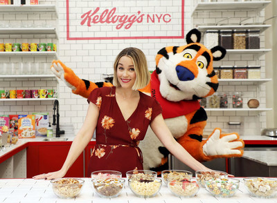 Designer, foodie and lifestyle expert Lauren Conrad and Tony the Tiger® celebrate the launch of the new Union Square Kellogg's® NYC Café on Tuesday, Dec. 12, 2017, in New York. A bigger, better Kellogg's® NYC Café opens permanently on Dec. 14th. Credit: Sara Jaye Weiss