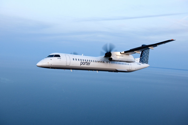 Porter operates a fleet of Bombardier Q400 aircraft. The aircraft sets new standards for comfort and fuel efficiency, using 30 to 40 per cent less fuel than comparable regional and narrow-body jets. The Q400 features high cruising speed, revolutionary cabin noise-reduction technology and environmentally-friendly engines. (CNW Group/Porter Airlines Inc.)