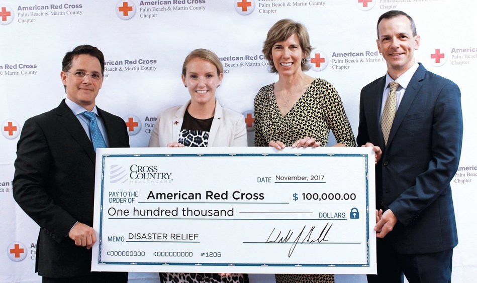 Left-Right: William Burns, Chief Financial Officer, Cross Country Healthcare; Michelle Boggs, Regional Chief Development Officer, American Red Cross South Florida Region; Joanne Nowlin, Regional Chief Executive Officer, American Red Cross South Florida Region; Kevin Ingham, Chief Human Resources Officer, Cross Country Healthcare