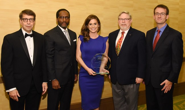 PTCB CPhT of the Year SSgt Mary Johnson, USAF, was honored December 5 in Orlando by: PTCB Board member and ASHP CEO Paul Abramowitz, PharmD, ScD (Hon), FASHP; PTCB Executive Director and CEO Everett B. McAllister, MPA, RPh, Col., USAF (Ret.); PTCB Board member and Illinois Council of Health-System Pharmacists Executive Director Scott Meyers; and PTCB Executive Director and CEO-elect William Schimmel.