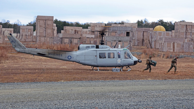 Marines conduct a re-supply mission during a demonstration of Aurora's autonomous UH-1H developed for ONR's AACUS program