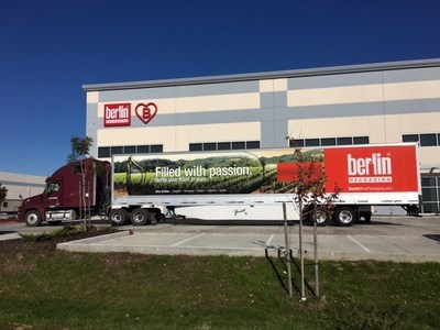 Berlin Packaging Truck in front of new Fairfield, CA Warehouse