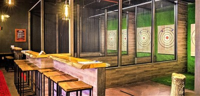 A look inside Kick Axe, a 7,000-square-foot axe-throwing venue, which will open to the public on December 15 in the Gowanus neighborhood of Brooklyn.
