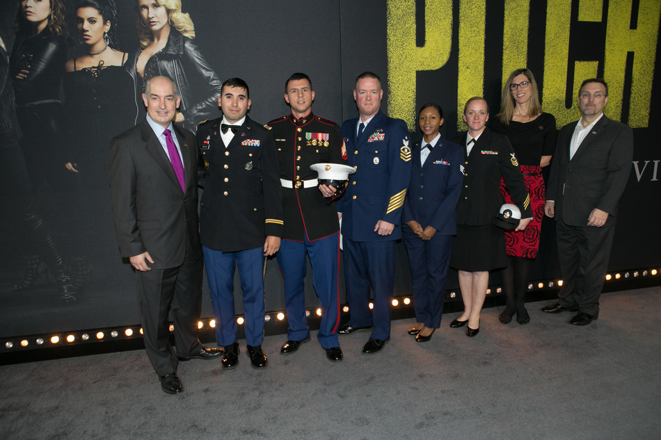 USO CEO and President Dr. J.D. Crouch II, five service members, Lorie Hennessey, USO SVP of Entertainment and Paul Allvin, USO SVP of Brand Advancement joined the cast on the red carpet at the Pitch Perfect 3 premiere.  USO photo by Brian Stethem