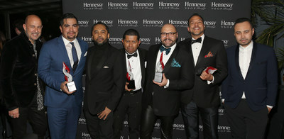 2017 HOMBRE Men of the Year - Designer John Varvatos left, honoree Aarón Sánchez, Publisher and Editorial Director of HOMBRE Magazine Francisco Romeo, Honorees Johnny Falcones, Rodrigo Flores-Roux, Eduardo Vilaro and Carlos Campos (PRNewsfoto/HOMBRE Magazine)