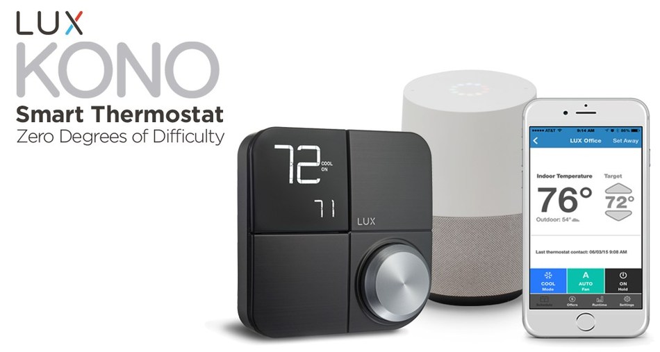 Manage your home comfort from anywhere in your home via any one of the top three voice assistants with the new LUX KONO Smart thermostat from LUX Products Corporation.  Priced below other comparable smart thermostats at $149.00, this new thermostat offers Zero Degrees of Difficulty™ and is voice compatible with the Google Assistant, Apple HomeKit™ and Amazon Alexa, giving homeowners plenty of options to control their comfort through Android phones, iPhones and voice-activated commands.