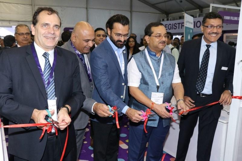Mr. Jime Essink, Chief Executive Officer, UBM Asia Ltd; Mr. Aasif Khan, Director, Fabtech Technologies; Shri. Satish Wagh, Chairman, Chemexcil; Mr. Yogesh Mudras, Managing Director, UBM India and other key dignitaries at the inauguration of CPhI & P-MEC India 2017. (PRNewsfoto/UBM India Pvt. Ltd)