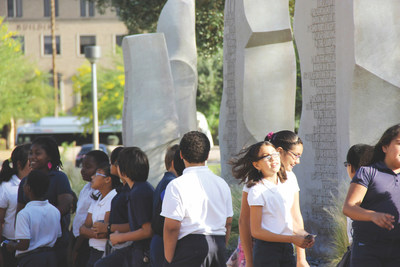 Schoolchildren visiting the Bill of Rights Monument at the Arizona Capitol in Phoenix