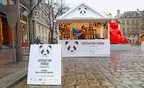 Special wood cabins with a panda motif on display at the Saint-Germain-des-Pres neighborhood's local Christmas market.