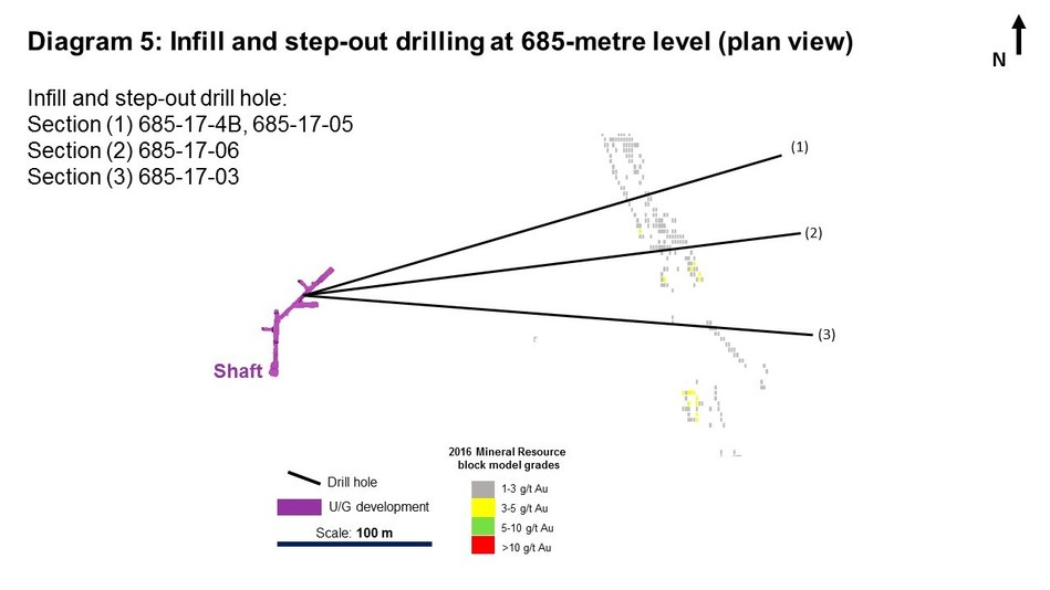 Diagram 5: Infill and step-out drilling at 685-metre level (plan view). Infill and step-out drill hole: Section (1) 685-17-4B, 685-17-05; Section (2) 685-17-06; Section (3) 685-17-03 (CNW Group/Rubicon Minerals Corporation)