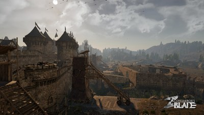 A traditional European castle under attack