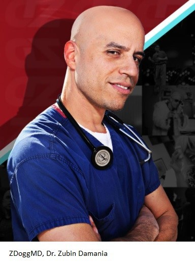 Internist Zubin Damania, M.D., better known as ZDoggMD