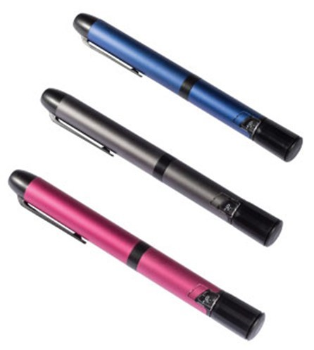 InPen is similar in size and shape to a traditional insulin pen. It comes in 3 colors to help avoid drug confusion.