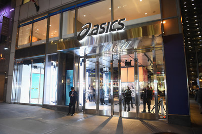 An exterior view of the Opening Cocktail Event for ASICS Flagship Store on December 13, 2017 in New York City.  (Photo by Nicholas Hunt/Getty Images for ASICS)