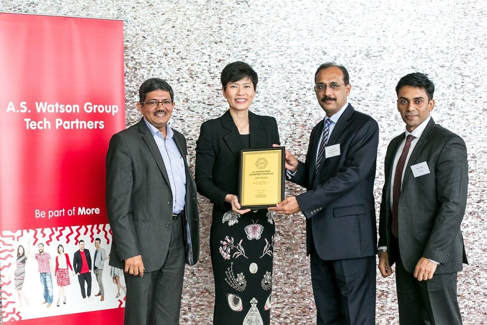 [L-R]: Gilroy Mathew, Head - APAC, UST Global; Malina Ngai, Group Chief Operating Officer of A.S. Watson; Alexander Varghese, Chief Administrative Officer, UST Global; and Pablo Tachil, Director – Digital, UST Global – receiving the A.S. Watson Group Appointment Certificate (PRNewsfoto/UST Global)