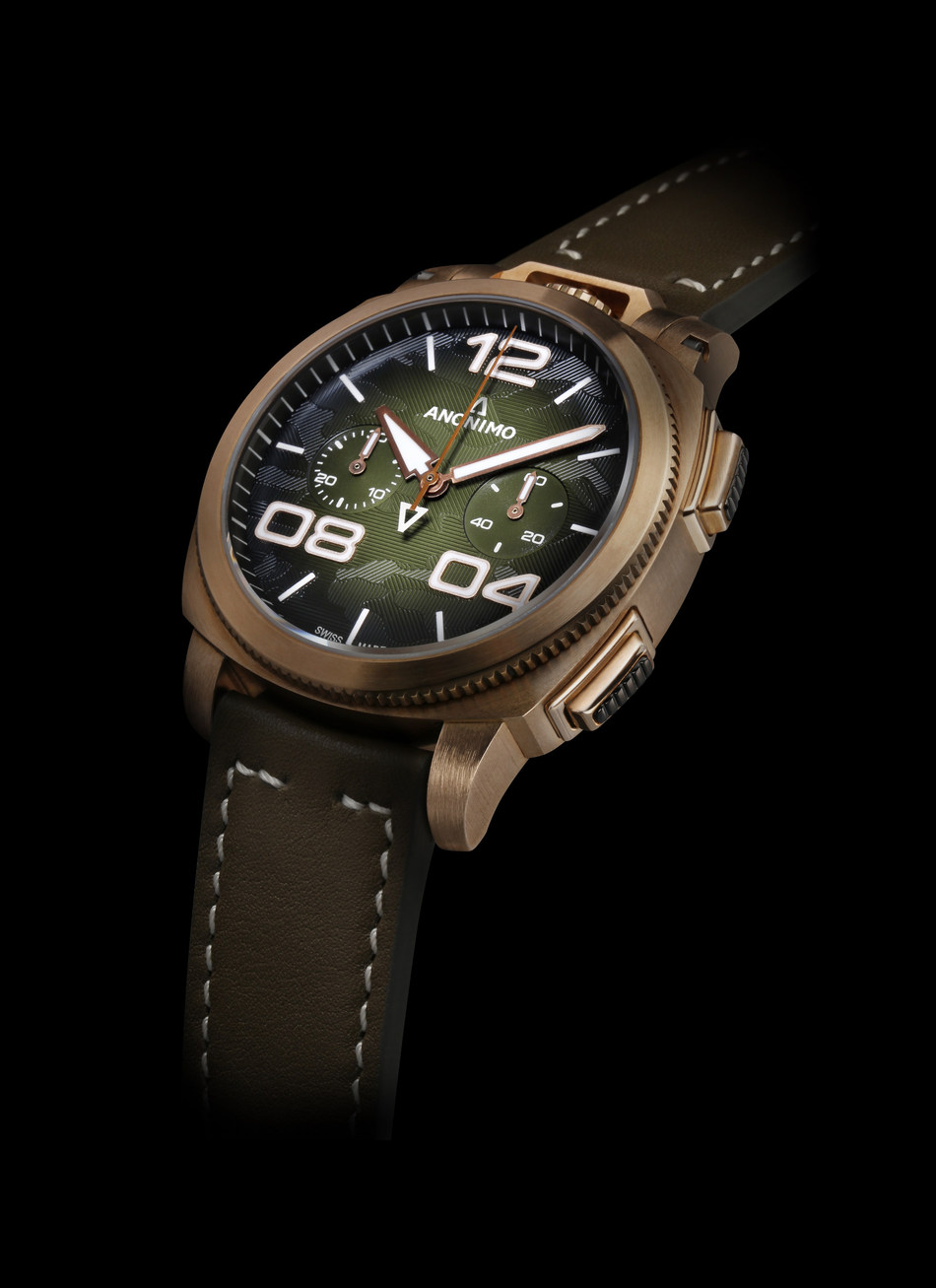 Introducing the Limited Edition Militare Alpini Camouflage. Available in brown or green guilloche dial with camouflage design. 97 pieces of each model.