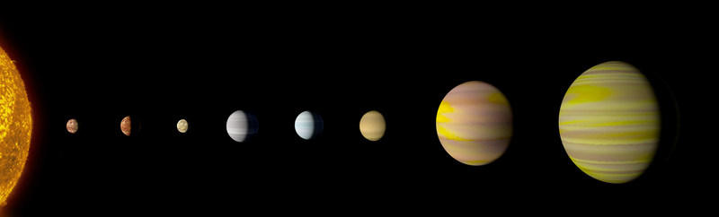 With the discovery of an eighth planet, the Kepler-90 system is the first to tie with our solar system in number of planets. Credit: NASA/Wendy Stenzel