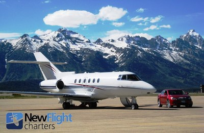 Empty leg private jet charter with New Flight Charters, ready for departure from Jackson Hole Airport.