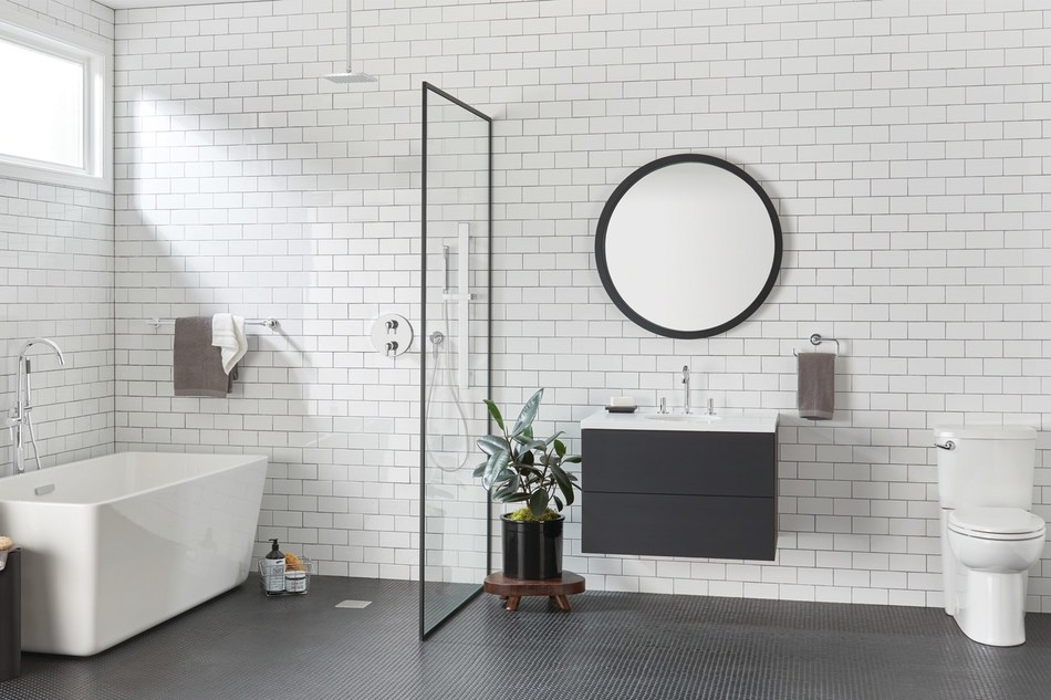 A stylish blend of geometric design and fluid detailing, the Studio S collection from American Standard offers a complete selection of bath and shower faucets and matching accessories, complemented by the Studio bathroom fixture offering.