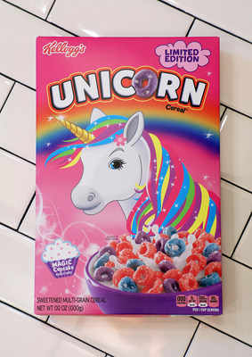 Kellogg's® new limited-edition Unicorn cereal made its U.S. debut this week, at the opening of the new Kellogg's® NYC Café. Credit: Sara Jaye Weiss