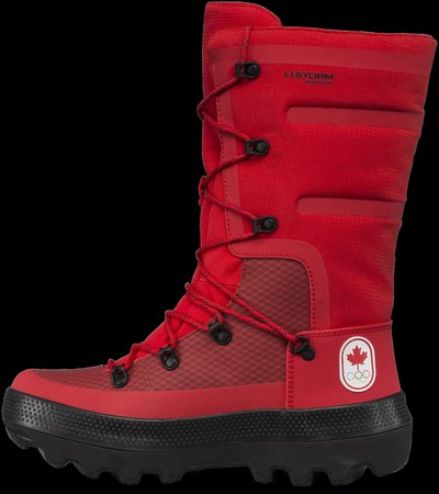 Under Armour and the Canadian Olympic Committee announce Under Armour as the official high-performance footwear supplier for Team Canada. Female athletes will wear the red winter Govie boots (pictured above) at the opening and closing ceremonies and will wear HOVR Phantom running shoes on the podium. A limited number of boots and training shoes featuring Team Canada's mark will be available for purchase leading up to the Olympic Winter Games through underarmour.com/en-ca, as well as through retail partner Sport Chek via sportchek.ca exclusively.   Photo credit: Under Armour (CNW Group/Under Armour, Inc.)