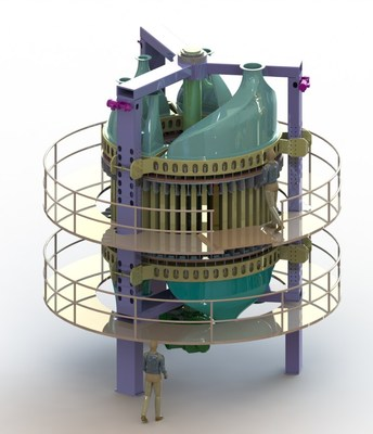 A rendering of Inventys' VeloxoTherm System, a 30-TPD carbon capture pilot plant that will be built at Husky Energy's Pikes Peak South Lloyd thermal project. (CNW Group/Inventys)