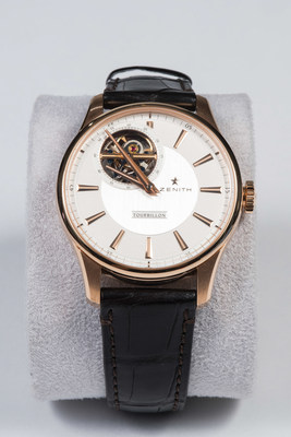 The auction's timepieces include this Zenith Captain Tourbillon Watch 18k rose gold, in original Zenith case with tags, retails for $50,000 - $60,000