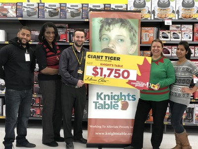 Le magasin Tigre Géant de Brampton fait un don à Knights Table. (Groupe CNW/Giant Tiger Stores Limited)